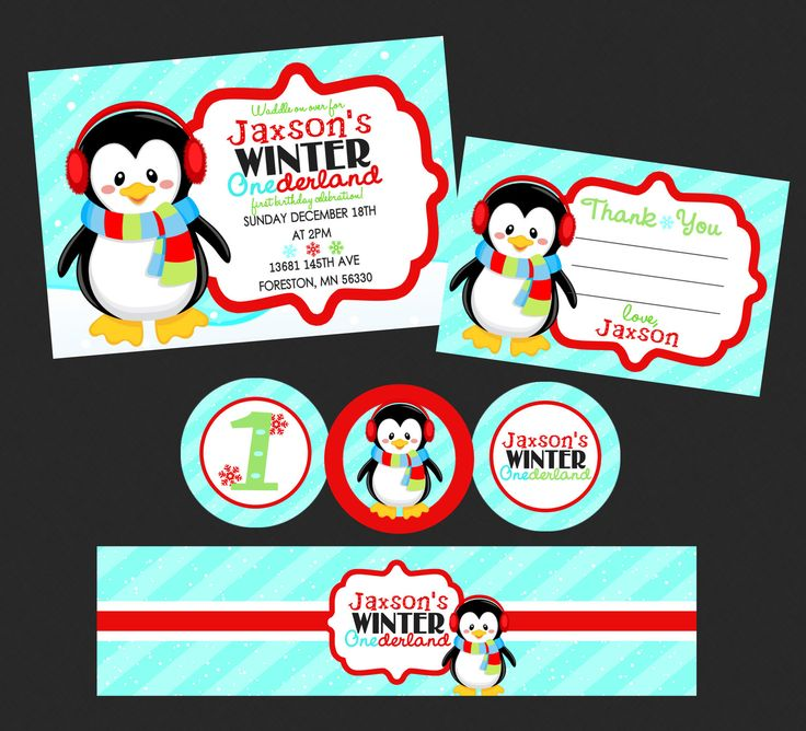 Adorable Penguin Winter Onederland Party Pack by BriezeesBoutique, $19.99