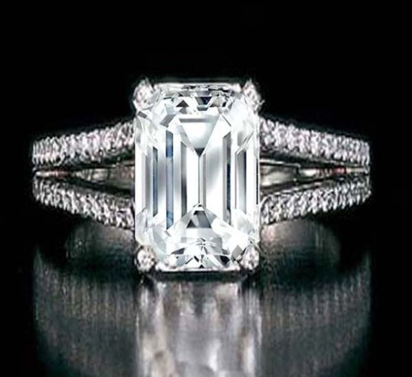 Emerald Cut Diamond Split Band Engagement Ring