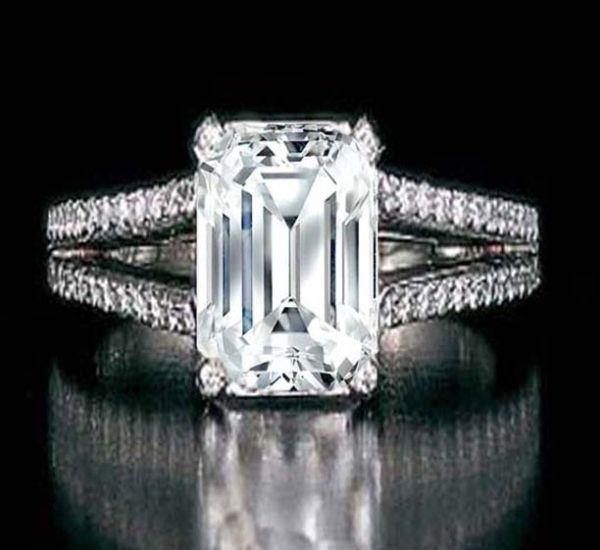 Emerald Cut Diamond Split Band Engagement Ring Beyonce's Choice & Matching Wedding Band