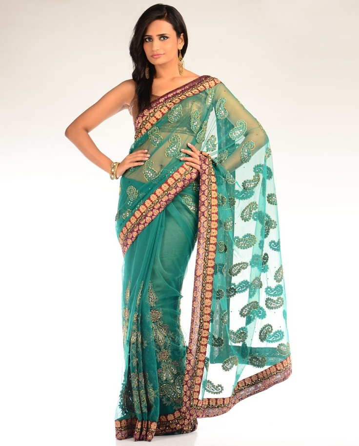 Sea Green Embellished Sari