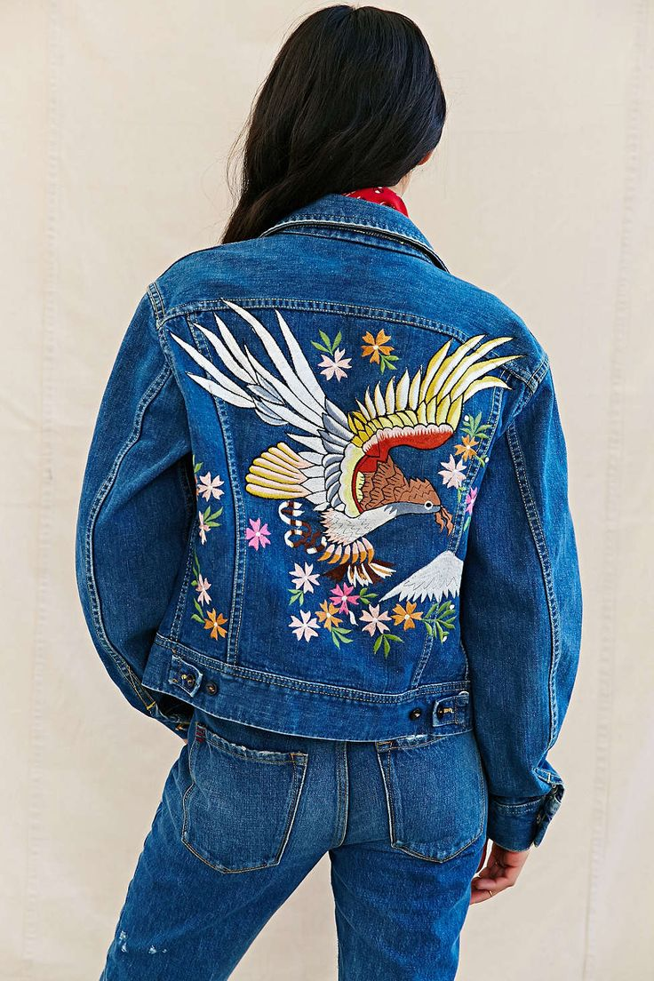 Urban Renewal Recycled Embroidered Denim Jacket  Urban
