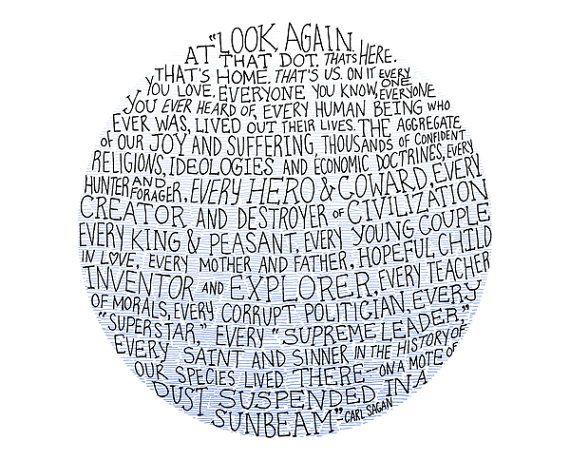 Carl Sagan pale blue dot illustration // 4x6 art by flapperdoodle, $5.00