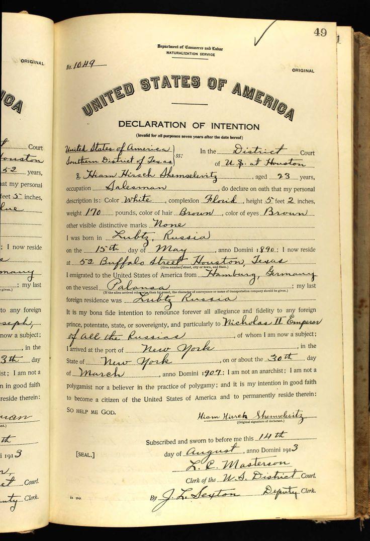 Texas birth records on pinterest sixteen tons lyrics free hiam hirsch shemselevitz age 23 birth date 15 may 1890 birth place lubtz aiddatafo Gallery