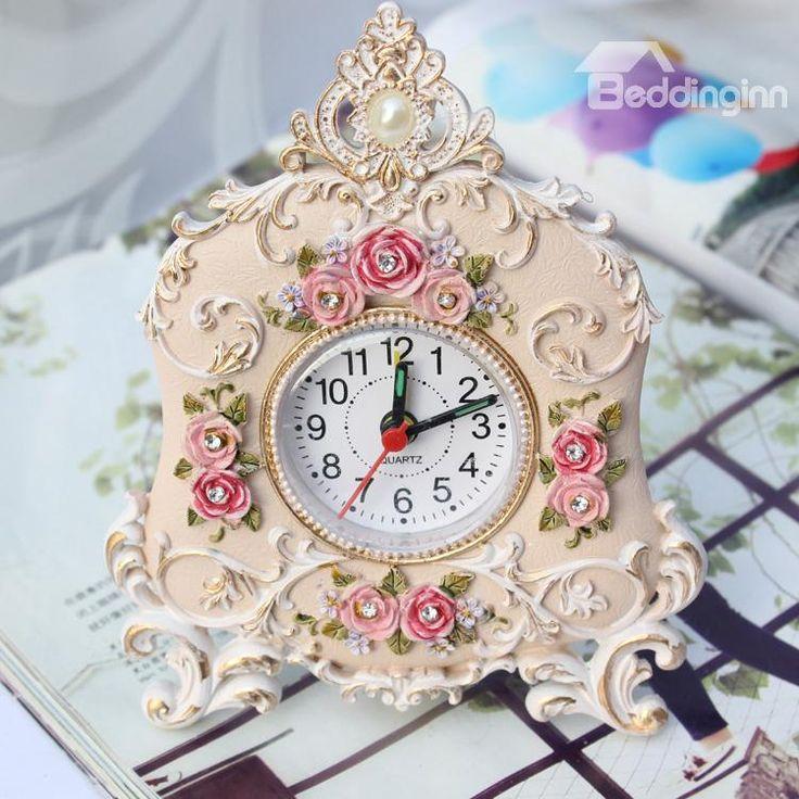 Korean Rustic Retro Rose Alarm Clock (10489173)