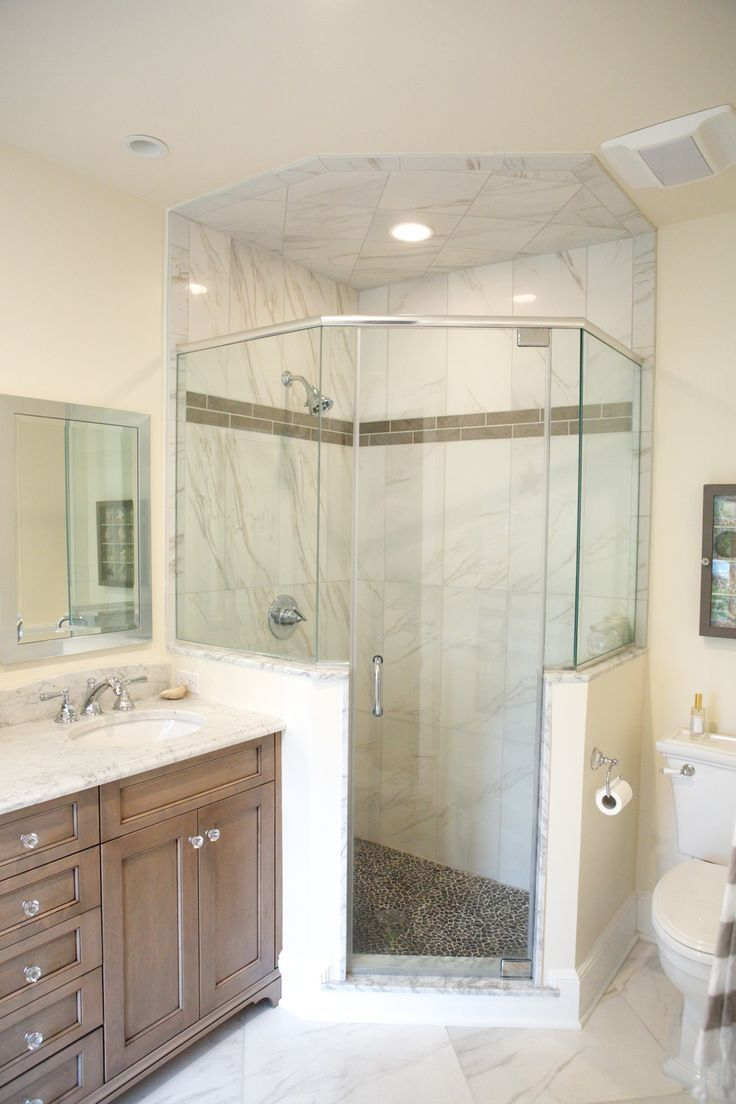 neo angle shower stalls with half walls - Google Search