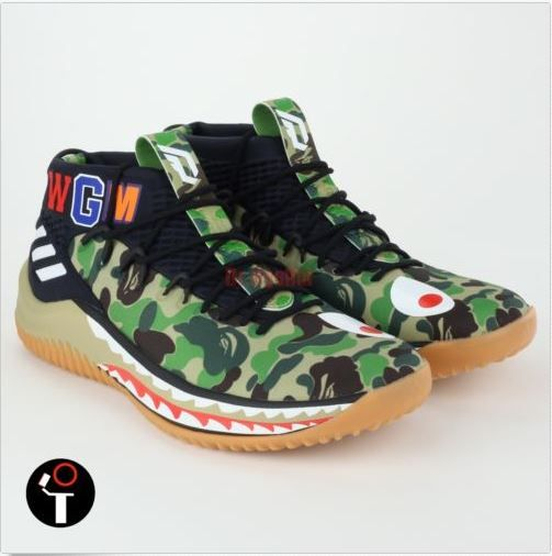 size 40 27184 ea275 NBA star Damian Lillard has collaborated with A Bathing Ape to release the  new BAPE x adidas Dame 4. The sneaker features BAPEs iconic shark face  logo, ...