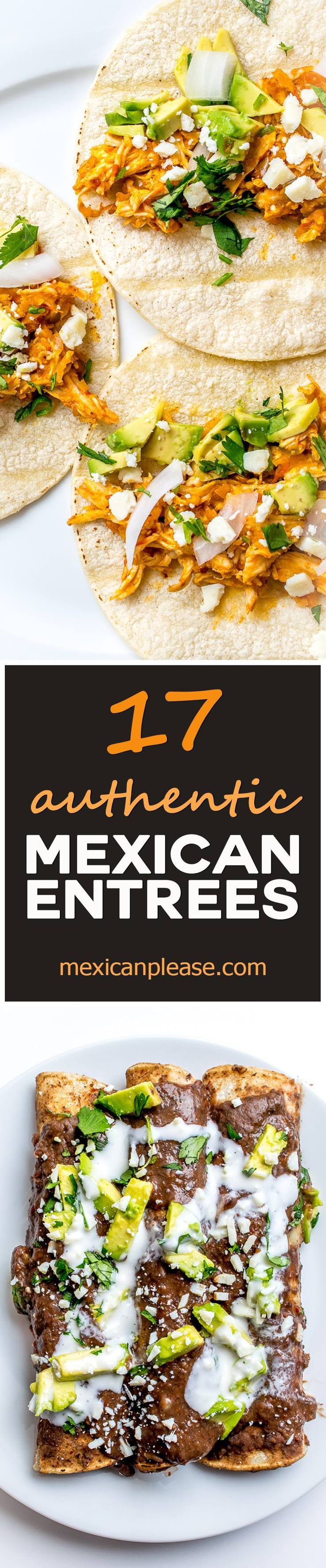 Ready for a kitchen swap? Here are 17 authentic Mexican entrees capable of instantly livening up any home kitchen. Scan through the list and mark down the two or three dishes that really catch your eye.  Includes recipes for enchiladas, mole, ceviche, tacos, and more!  mexicanplease.com