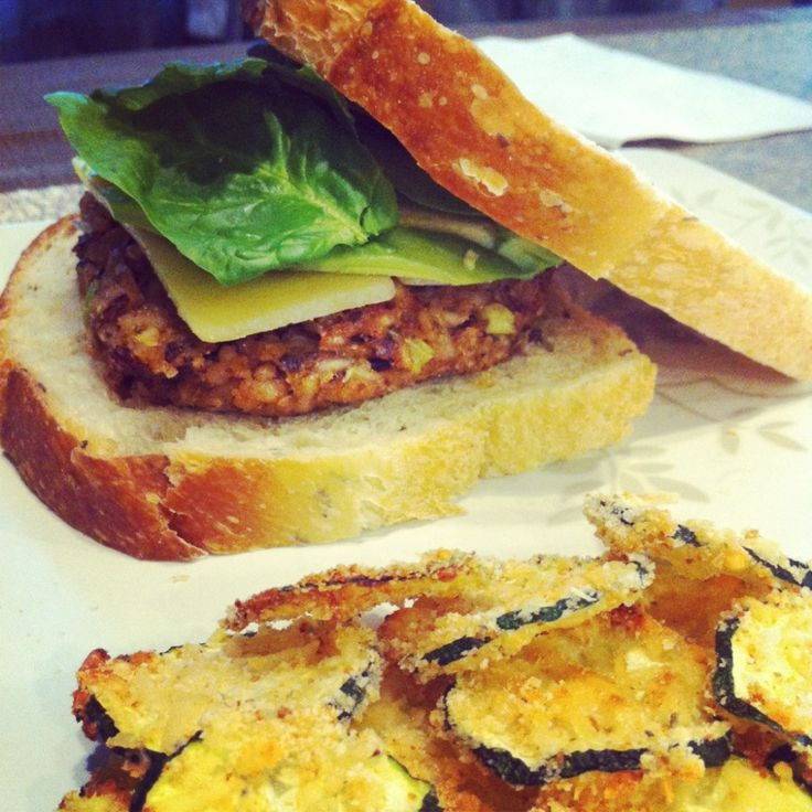 Wild Rice Burgers and Zucchini Chips | Wild rice | Pinterest
