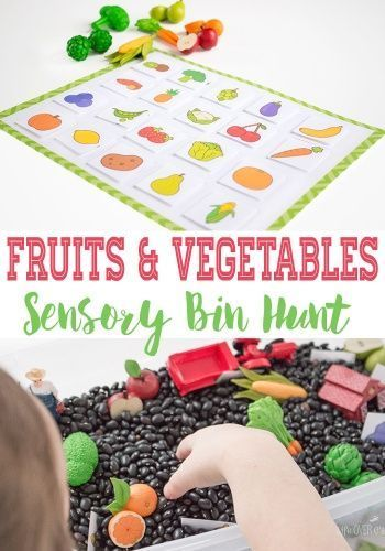 This farm sensory bin and fruits & vegetables sensory hunt is a super fun way to learn about fruits & veggies while working on matching and language skills.