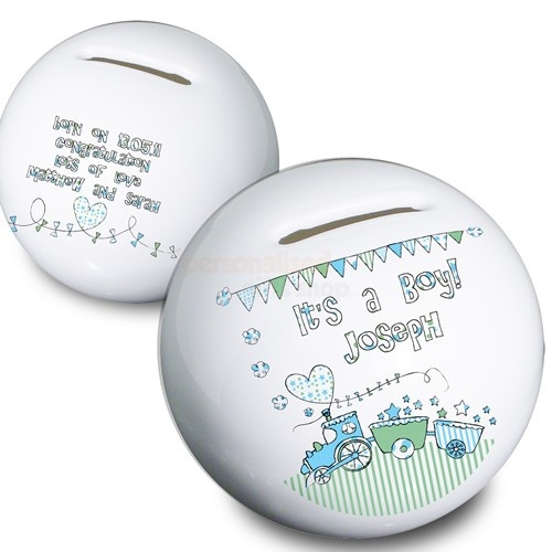 Personalised New Baby Money Box - Its a Boy  from Personalised Gifts Shop - ONLY £14.95