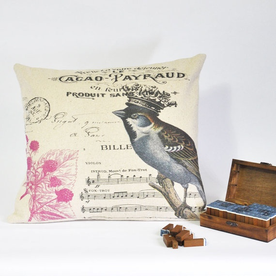 Decorative Pillow Cover, Cotton, Natral Color, Bird Pillow, French Cootage Shabby Chic Burlap. $33.00, via Etsy.