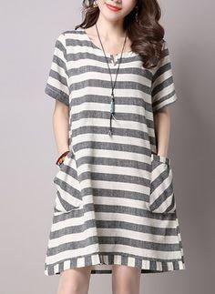 Polyester Stripe Short Sleeve Above Knee Casual Dresses (1036681) @ floryday.com