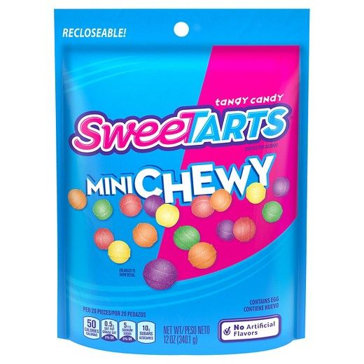 Smaller things are always cuter, and the SweeTarts Mini Chewy Candy is no exception. These rainbow fruit candies are sweet and sour with flavors like lemon and green apple that are colorful and tart. The tangy candies have a little round shape that fits in the palm of your hand and the resealable bag keeps the chewy candy fresh.