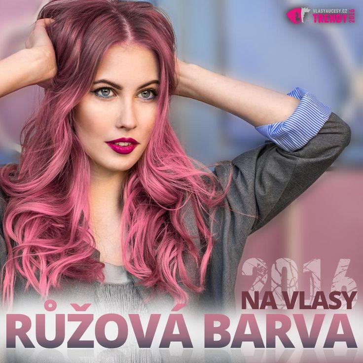 Růžová barva na vlasy je jednou z top barev pro účesy 2016. Dokonale vynikne vedle modré. Pastelová Rose Quartz a modrá barva Serenity jsou oficiálními barvami roku 2016 (Pantone).