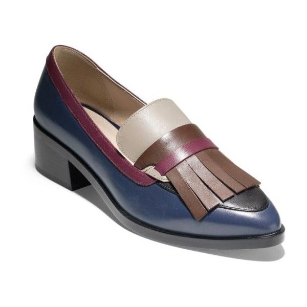 Women's Cole Haan Margarite Loafer Pump (2.715.000 IDR) ❤ liked on Polyvore featuring shoes, pumps, marine blue leather, block-heel shoes, fringe loafers, blue shoes, cole haan loafers and blue leather loafers