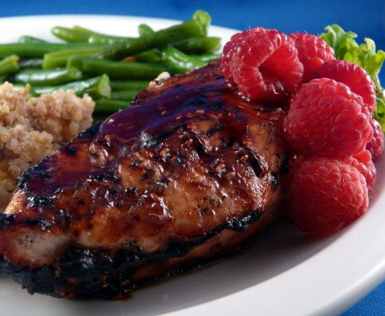 This is a delicious raspberry chicken that my sister ALWAYS asks me to make for her! Its quick and easy... under half an hour to make! The berries bring a very tasty flavor to the chicken! I usually serve this with a raspberry vinaigrette salad!