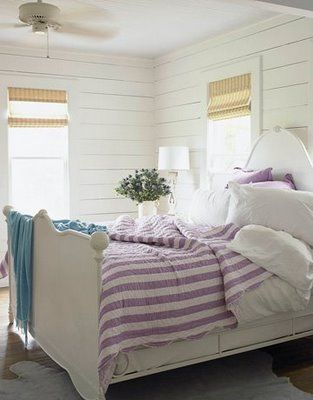 Classic beach cottage bedroom from Beach Cottage Love. I don't care for the purple comforter, but I loooove the walls.