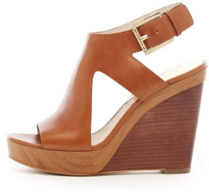 Brown Leather Wedge Sandal
