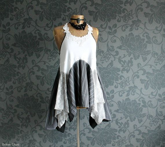 Womens, romantic, white and grey, lagenlook, layered, boho chic top in size large. One-Of-A-Kind, eco friendly, handmade, clothing and accessories for women, plus size women and children.  DANICA Top  This one of a kind top has a stretch cotton bodice with lace halter neckline. The bottom of the shirt is layered in a mix of fabrics and lace. Womens size large Bust: will fit 37-40 inches (94-102 cm) Waist: free Length from top of shoulder to bottom edge: 28-38 inches (71-97 cm) Hips: free…