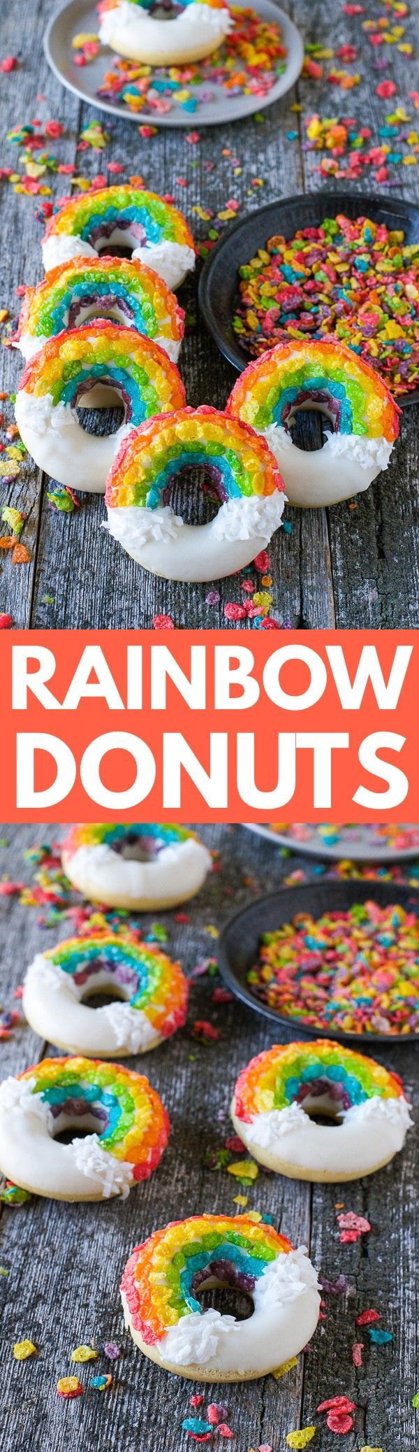 Rainbow Donuts – these fun donuts are made using fruity pebbles, white chocolate and shredded coconut!