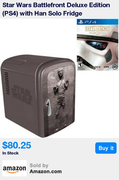 """Star Wars Battlefront Deluxe Edition ---Immerse yourself in your Star Wars battle fantasies. * This official Star Wars 4-liter mini fridges features Han Solo * Includes cooling and warming function (to keep your food warm) ----Holds up to six 12 oz. cans of soda * Comes with built-in carry handle, removable shelf, 110V US AC power cord and a 12V DC power cord (for car) * Dimensions: 10"""" L x 7.48 W x 12.20 H"""