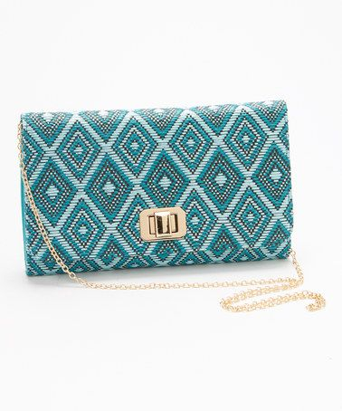 Another great find on #zulily! Turquoise & Gold Geometric Clutch by MMS Studio #zulilyfinds