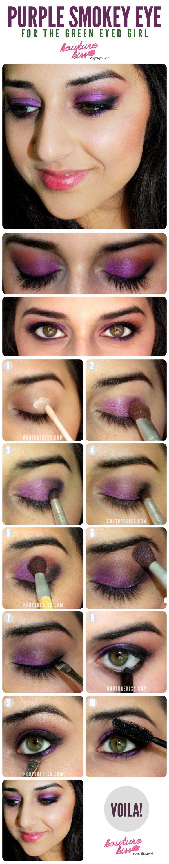 10 Creative And Useful Makeup Tutorials, Purple Smokey Eye For The Green Eyed Gir