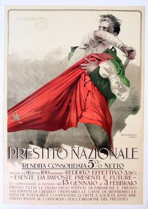 Poster ID: CL38817 Original Title: Prestito Nazionale (2) Designer: Mario Borgoni Year of Poster: 1910s Category: Political/World War I Country of Poster: Italian Size: 39 x 25 inches = 99 x 64 cm Condition: Very Good Price: $1200 Available: Yes