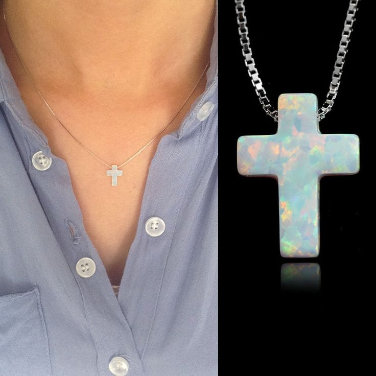 white fire opal cross necklace 13mm sterling silver cross pendant necklace chain #Handmade #Pendant