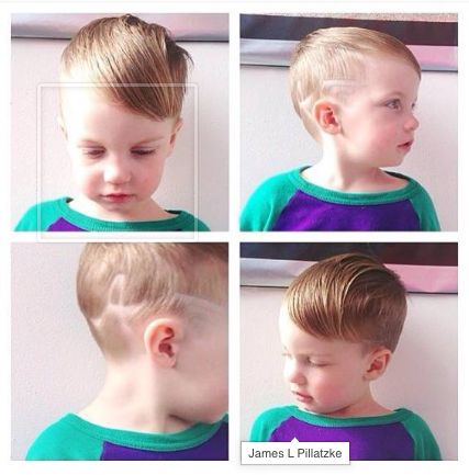 Children's short haircut - gentleman's style with fade, long hair on top, and hair art.