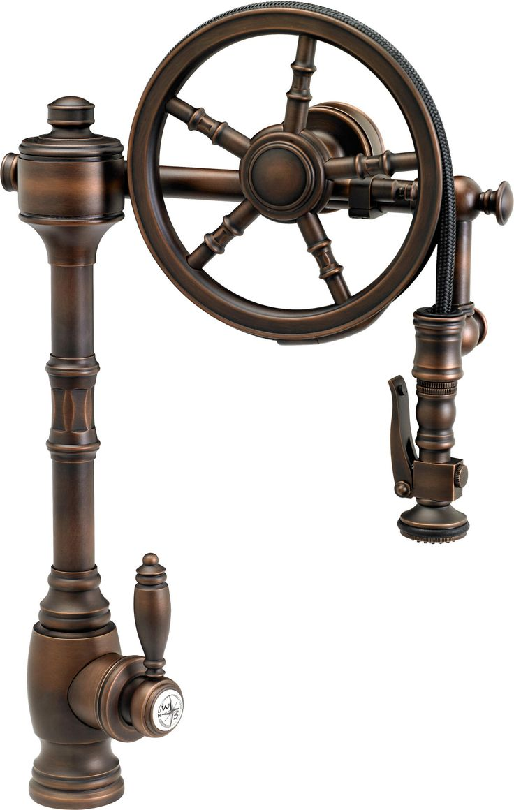 Waterstone Wheel Pull-Down Faucet | steampunk decor | industrial kitchen faucet