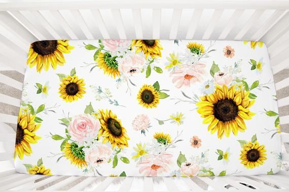 Changing Pad Cover Boppy Pillow Cover Sunflower Crib Sheet Watercolor Floral Baby Bedding Crib Bedding Girl