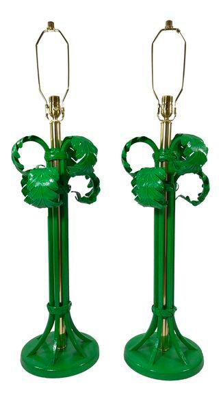 Vintage Palm Tree Lamps - A Pair on Chairish.com