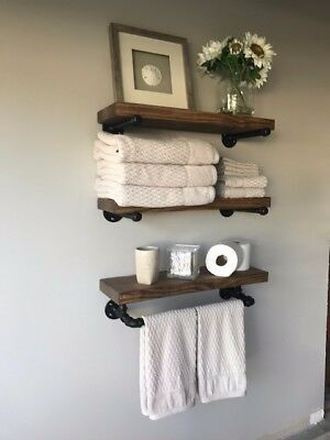 8″ Deep Industrial Floating Shelves w/Towel Bar, Rustic (set of 3 Shelves) | eBa…  – Kitchen