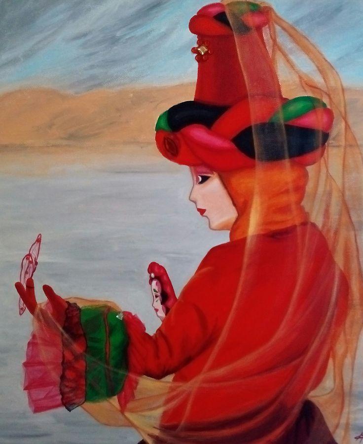 Masque de Venise rouge au voie orange. Peinture acrylique, Christine Monsion