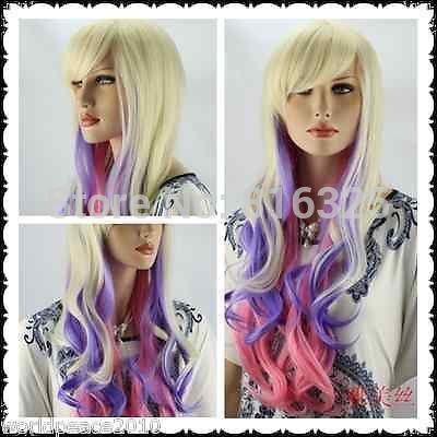 БЕСПЛАТНО P & P>> Cos Harajuku светлый блондин/Фиолетовый/розовый mix длинными вьющимися парик