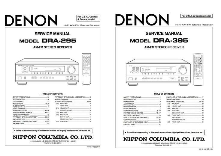 10 best denon service manuals images on pinterest manual textbook denon dra 295 dra 395 service manual complete fandeluxe Images