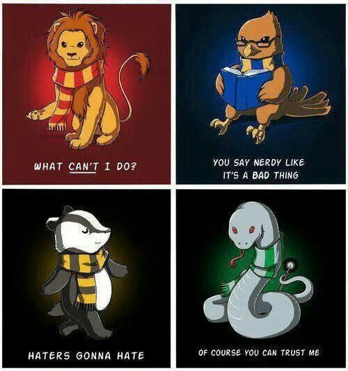 Gryffindor, Hufflepuff, Ravenclaw, and Slytherin.