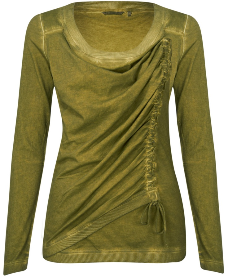 Sandwich Clothing Long Sleeve Ruched Jersey T-shirt (Moss Green) at Gemini Woman