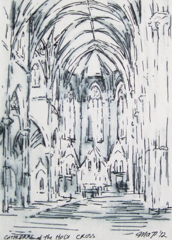Ink Architecture Drawing Boston Cathedral, Black and White