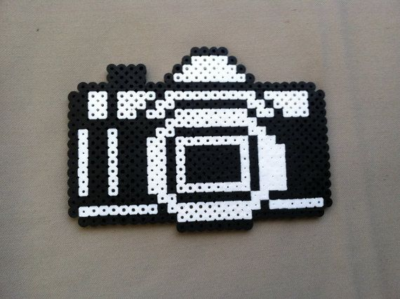 Perler Bead Black and White Camera on Etsy, $6.00