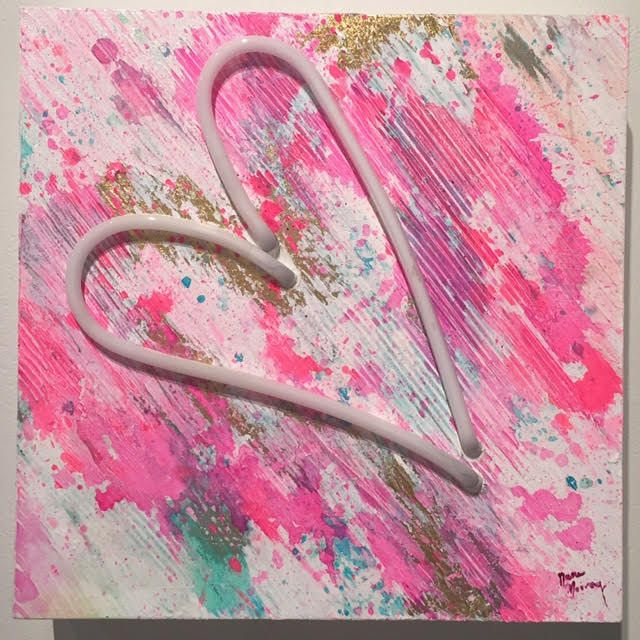 "Neon Heart  Acrylic, gold leaf on panel, pink neon  12"" x 12"", $490"