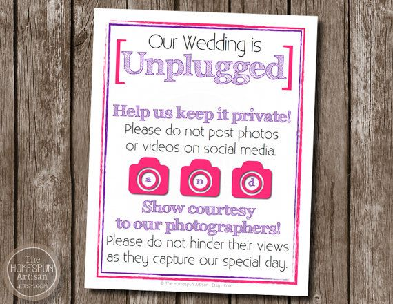 UNPLUGGED Wedding Sign Printable PDF Option by TheHomespunArtisan, $11.95