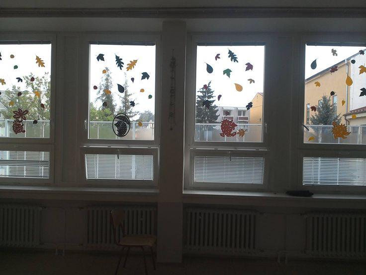 podzimní vystřihovánky na okna