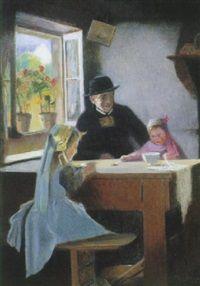 Interior med Pater og to småpiger der spiser ved et åbenstående vindue by Erik Pierre Norselius