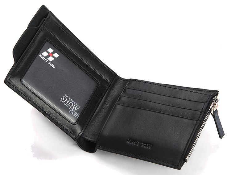 Hautton Black Leather Wallet with Coin Pocket - Small Size
