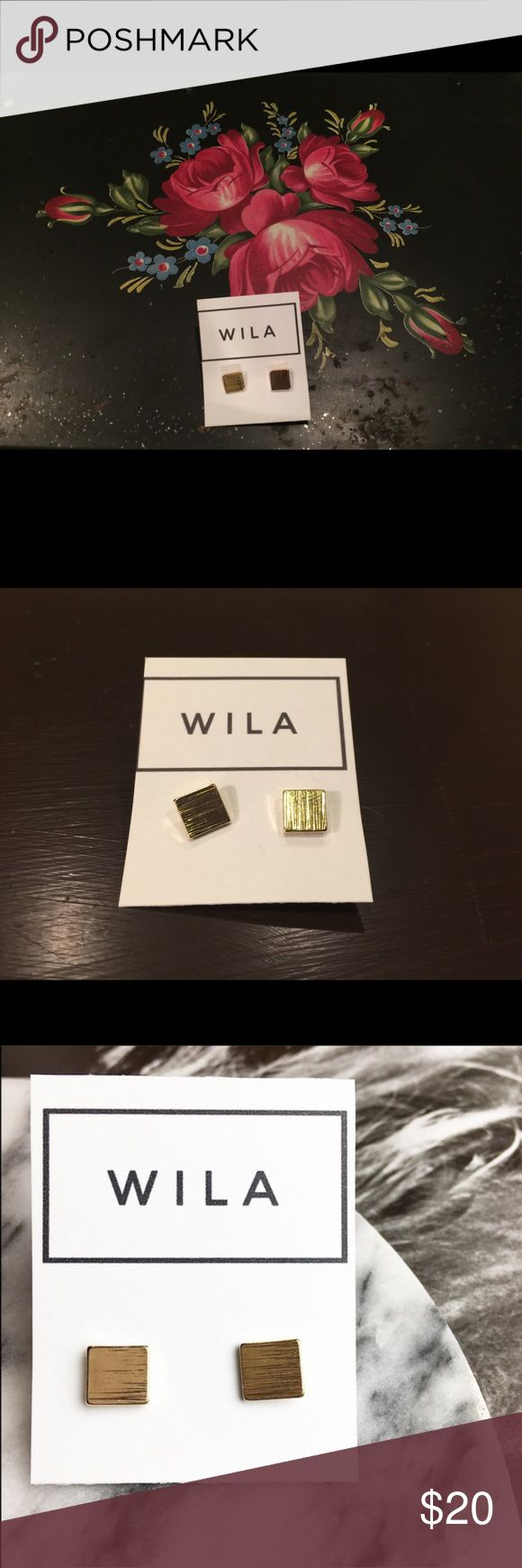 Minimalist Square Stud Earrings 14k Gold NWT! Minimalist Square Stud Earrings 14k Gold Plated Alloy Metals NWT! Quarter shown in last pic for size comparison. By Wila. Better looking in person than in pics!     625 WILA Jewelry Earrings