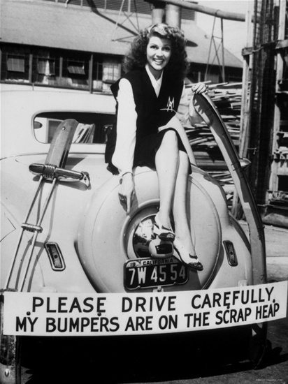 Rita Hayworth doing her part for the war effort.  Have ideal weights really changed?History, Bumper Crop, Rita Hayworth, Fashion Style, Moviestars, Metals, Wars Effort, Movie Stars, Cars Parts