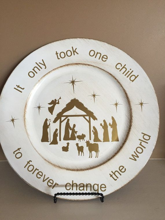 Christmas Charger Plate Nativity Scene By