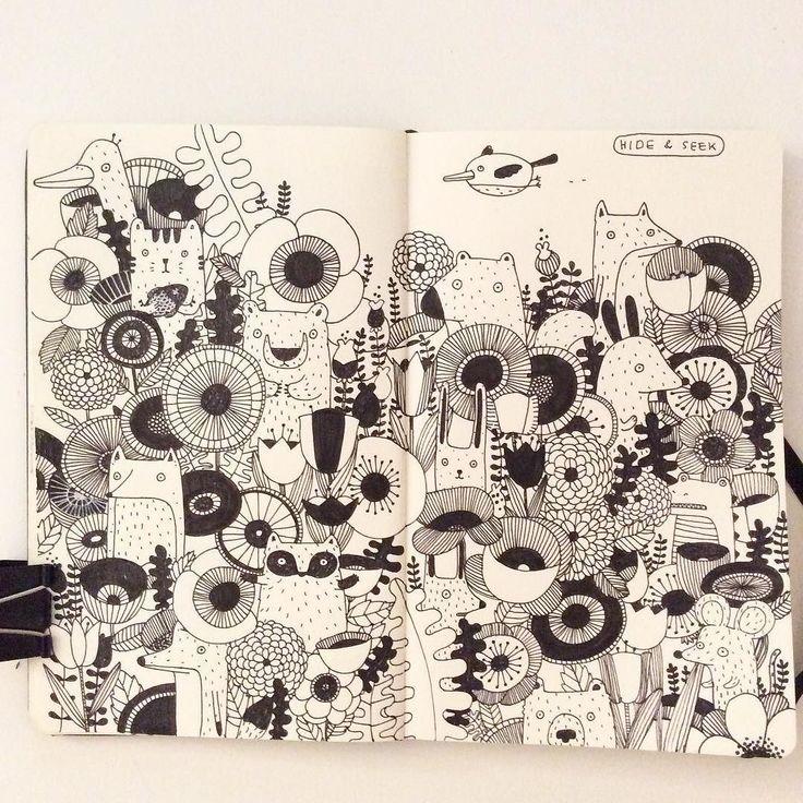 Hide &Seek. My hand is numb... #doodle #drawing #sketchbook #moleskine…